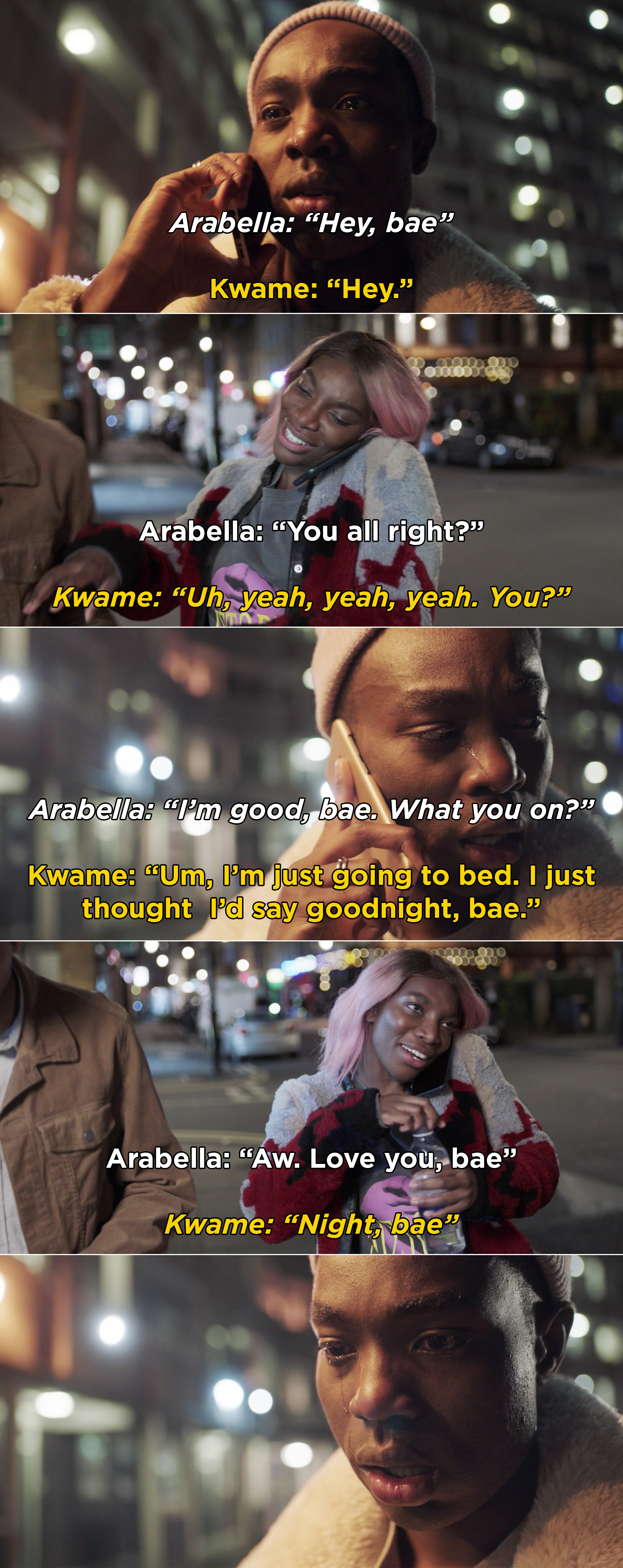 Kwame calling Arabella  after his sexual assault and being unable to talk about it, but simply saying goodnight to her and holding back tears