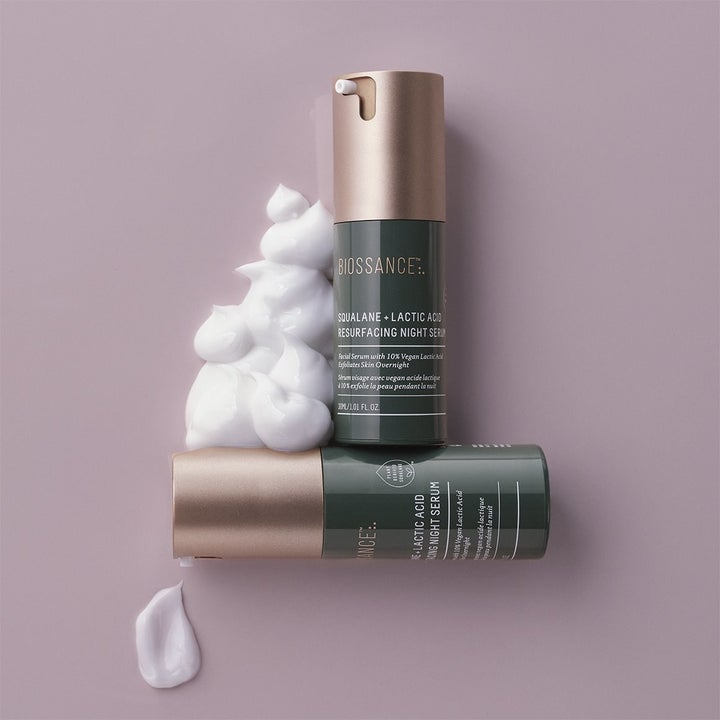 Lifestyle image showing the packaging of the serum and the gel-like texture