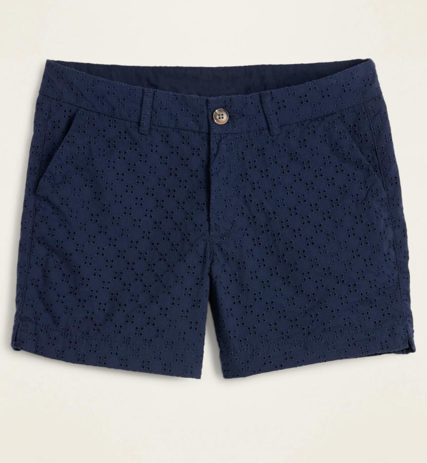 eyelet navy shorts