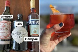A split screen featuring bottles of vermouth, gin, and Campari on the right. A hand on the left is holding a negroni.