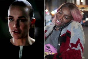 Elizabeth Henstridge as Jemma in Agents of Shield on the left, and Michaela Coel as Arabella in I May Destroy You on the right