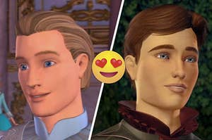 "On the left, Prince Daniel from "" Barbie of Swan Lake,"" and on the right, Derek from ""Barbie and the 12 Dancing Princesses"" and there is an emoji with hearts for eyes in between them"