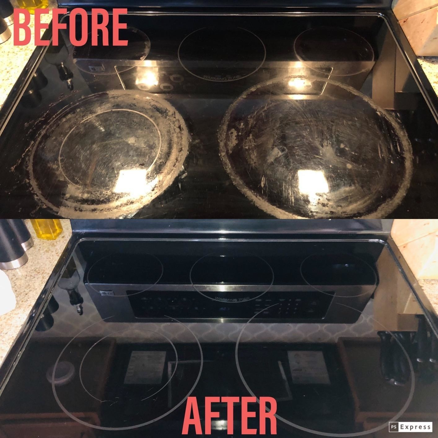 A before and after review photo of a dingy corroded-looking, and then clean electric cooktop