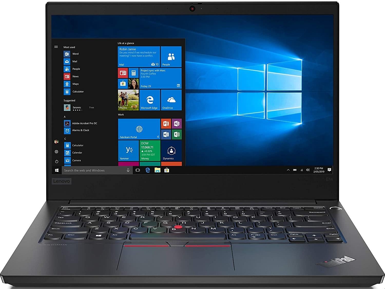 A Lenovo ThinkPad E14 in black