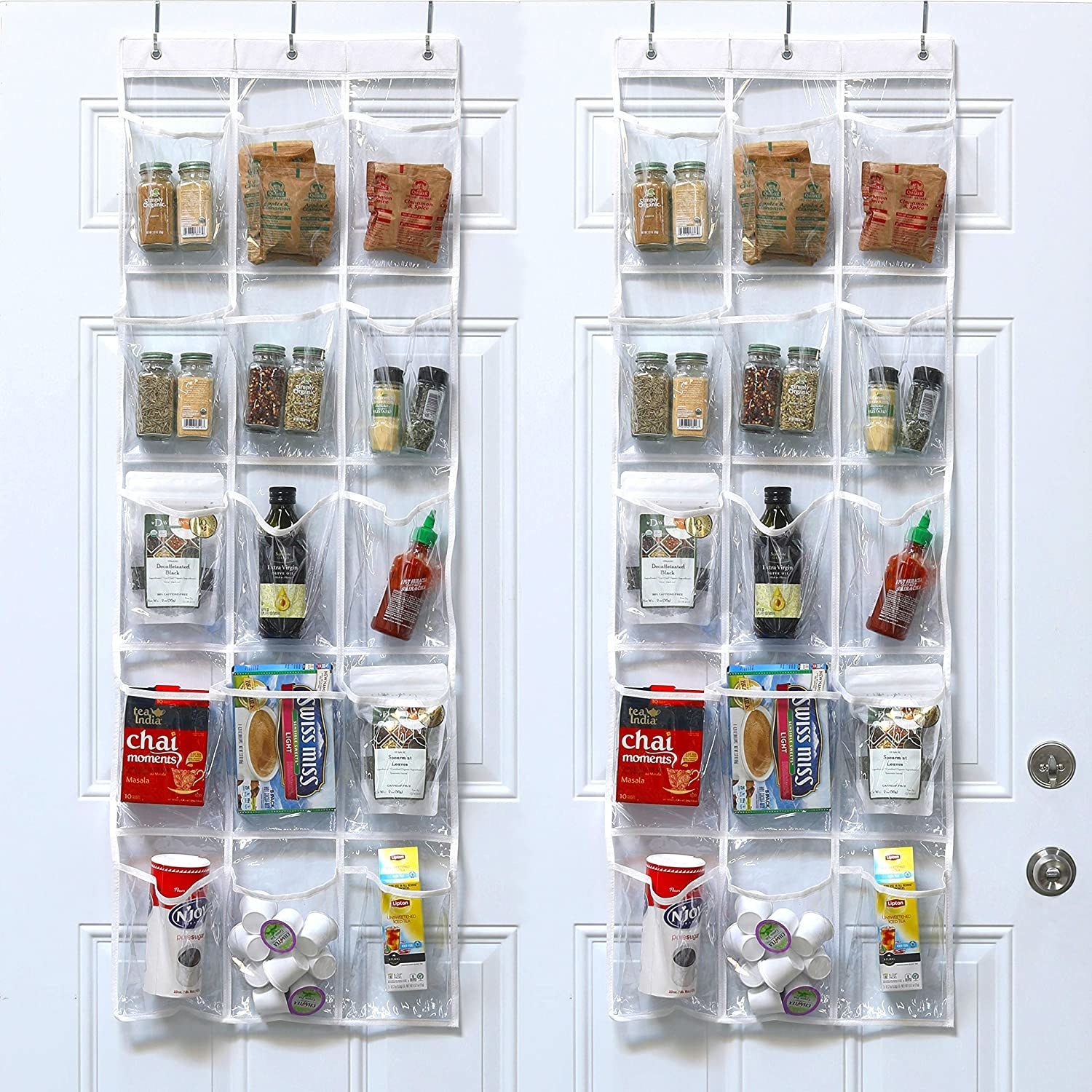 A hanging organizer over a door with food items inside the pockets.
