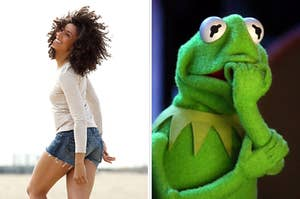 On the left, a woman smiles as her curly hair flies in her face on the beach while wearing denim shorts and a long sleeve t-shirt, and on the right, Kermit the Frog bites his nails nervously