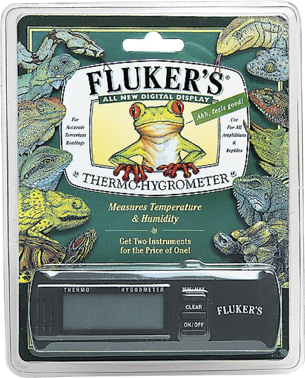 Close-up of the thermometer with frogs and other reptiles on the packaging