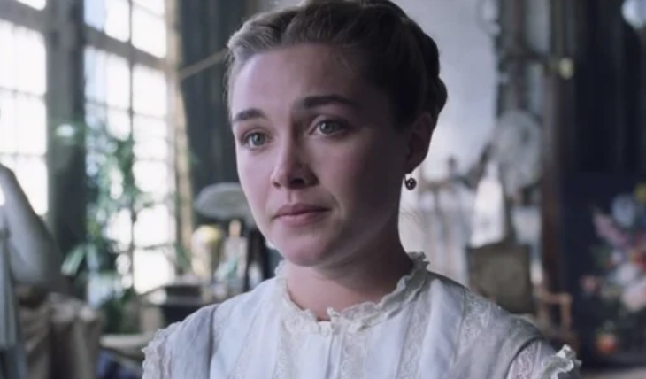 Florence Pugh in Little Women looking unhappy