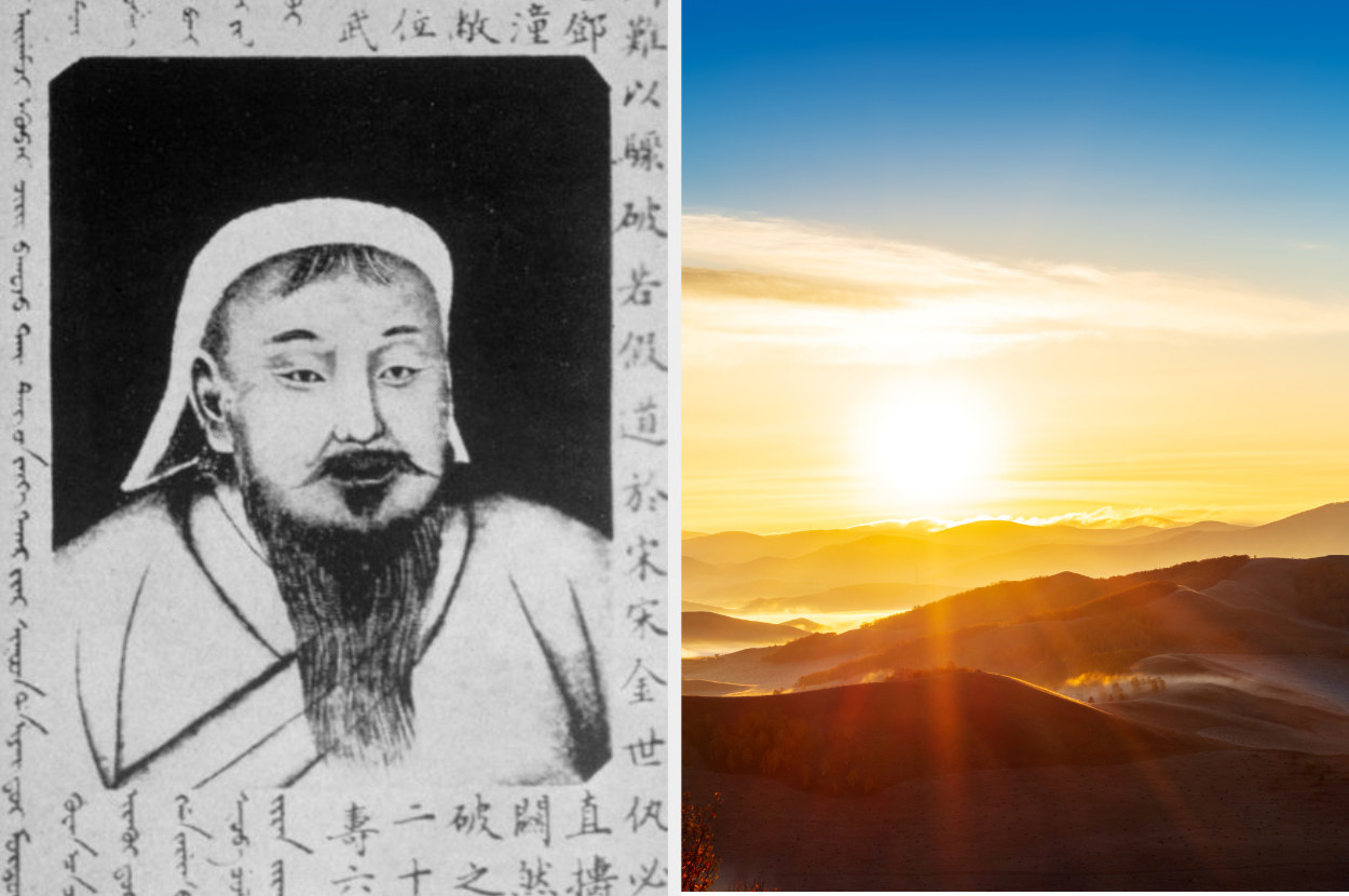 A drawing of Genghis Khan, alongside a photo of the Mongolian mountains