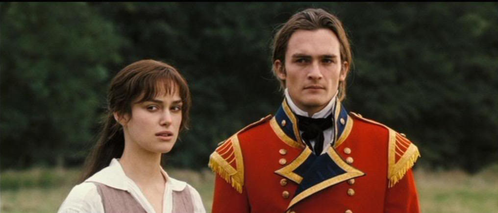 Elizabeth Bennet and George looking at Mr. Darcy ride away on his horse with deep curiosity