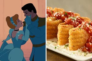 On the left, Cinderella and Prince Charming dance and look into each other's eyes, and on the right, Lasagna Fritta from Olive Garden