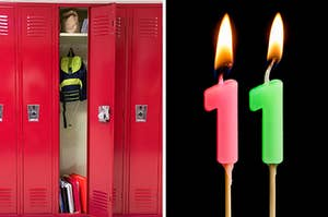 On the left, lockers in a school hallway with one open locker filled with books and binders, a sack lunch, and a backpack, and on the right, two lit number 1 candles