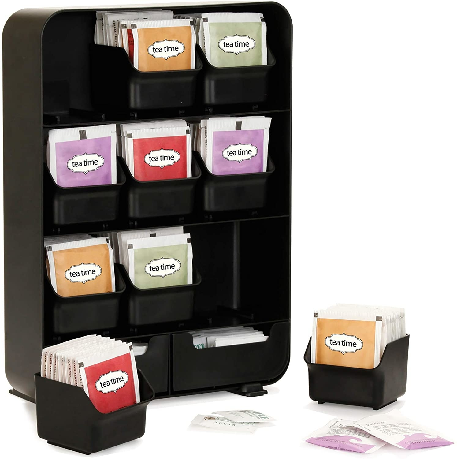 The tea organizer with several small drawers that each hold up to 20 bags of tea