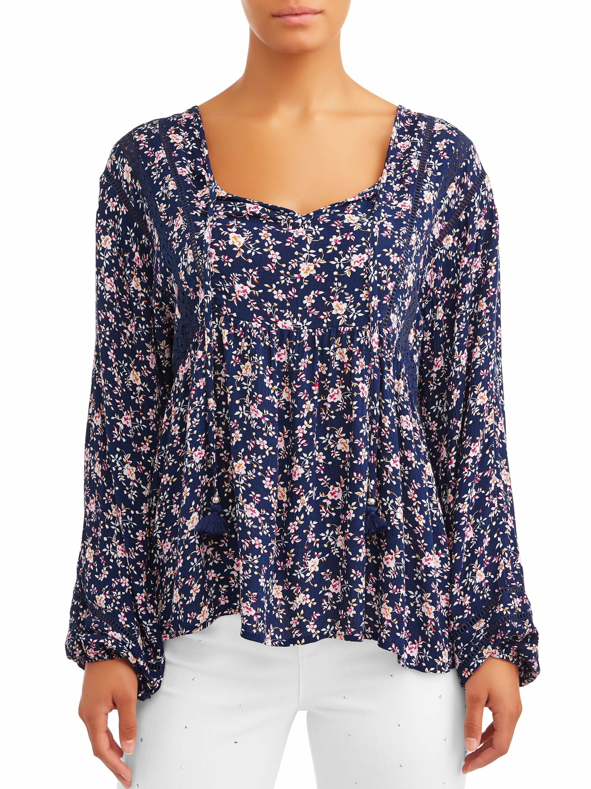The blue and pink floral blouse