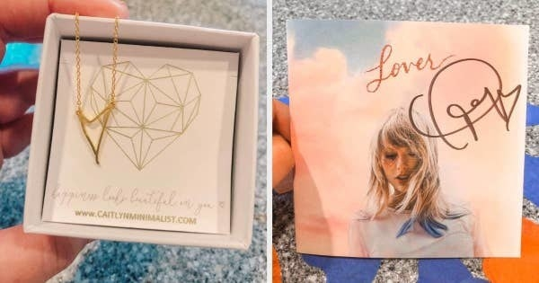 (left): A personalized gold heart necklace on a chain (right) A signed Taylor Swift Lover album