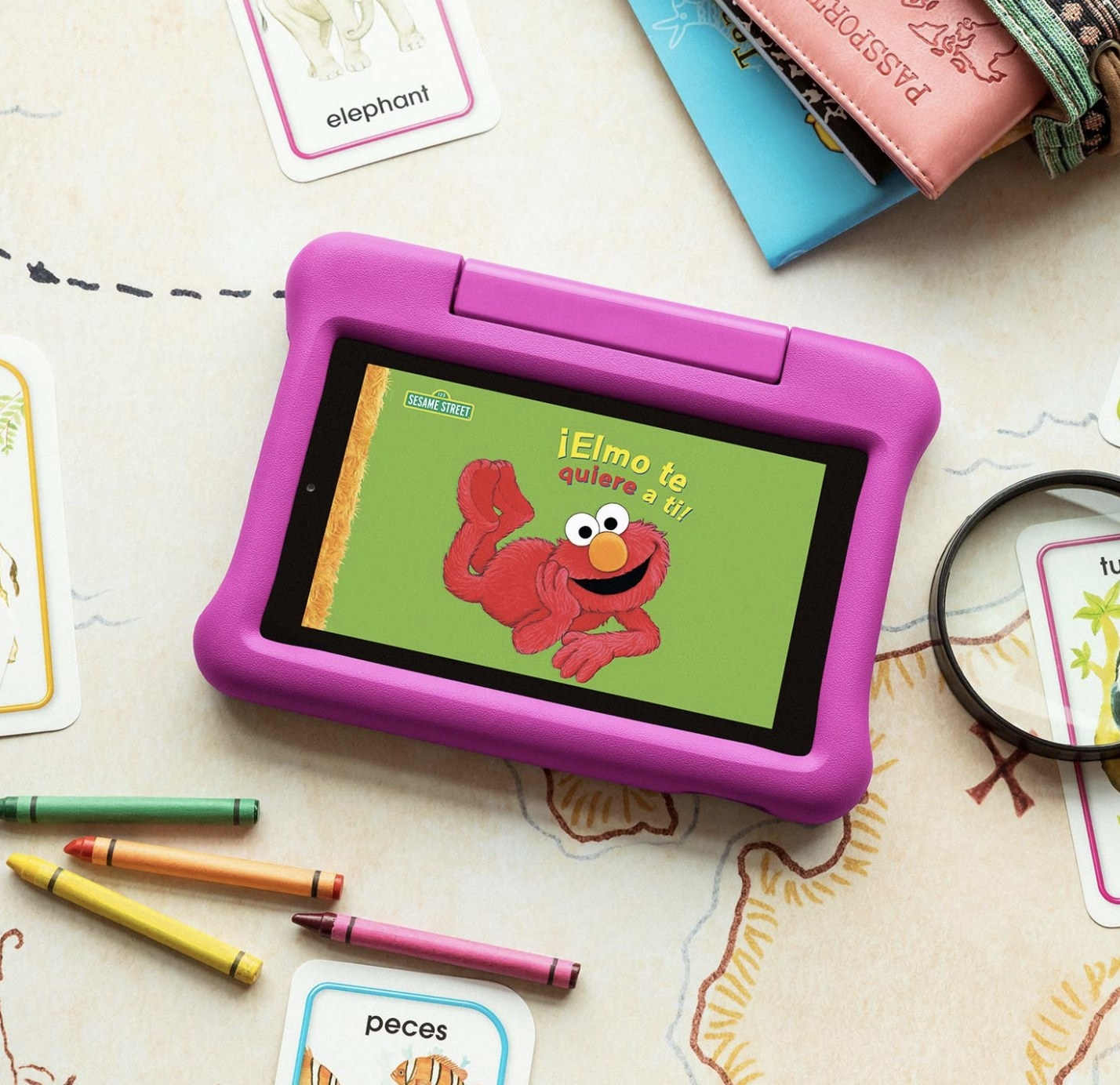 a pink amazon kindle tablet