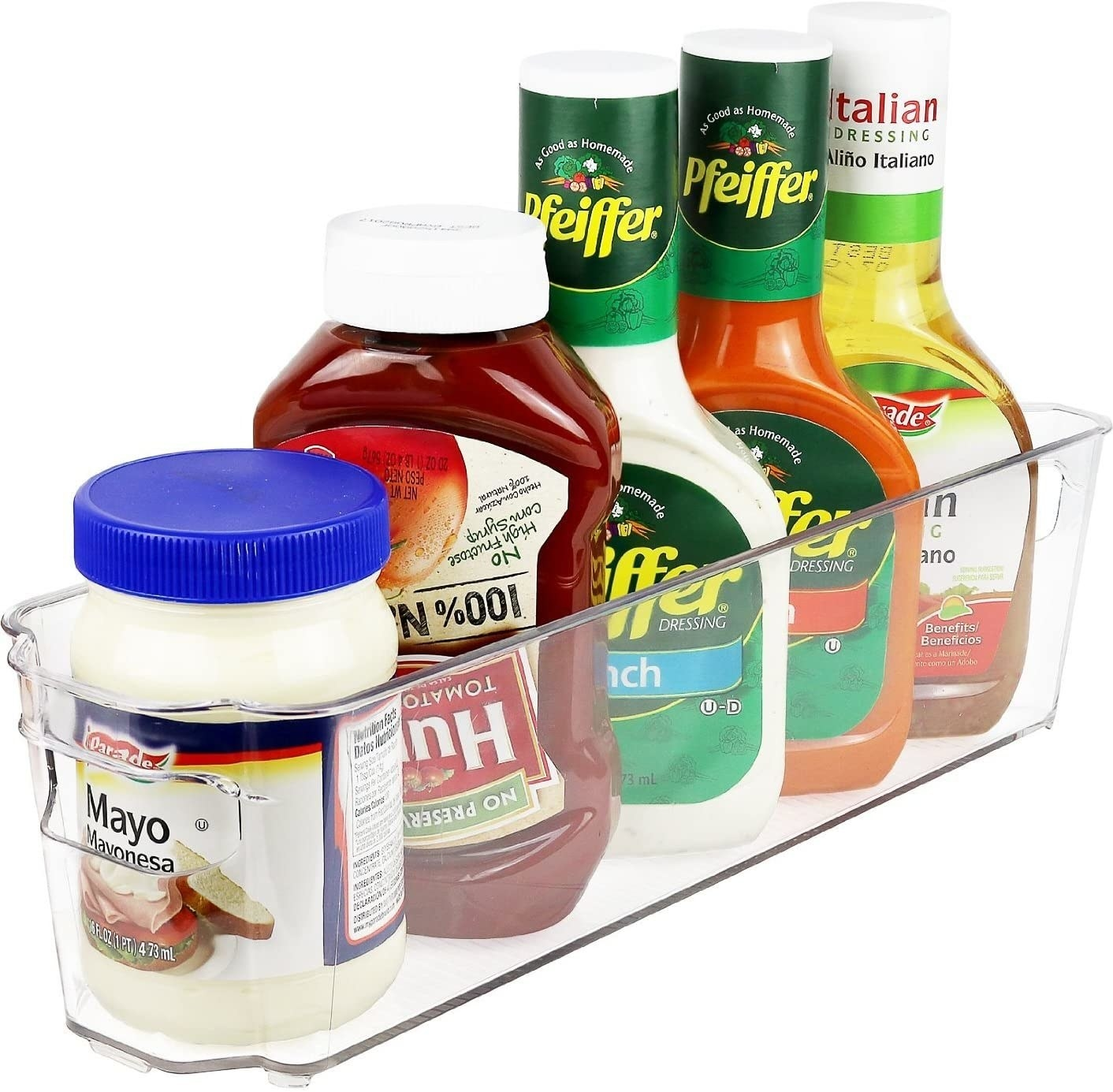 A clear container holding several condiment bottles