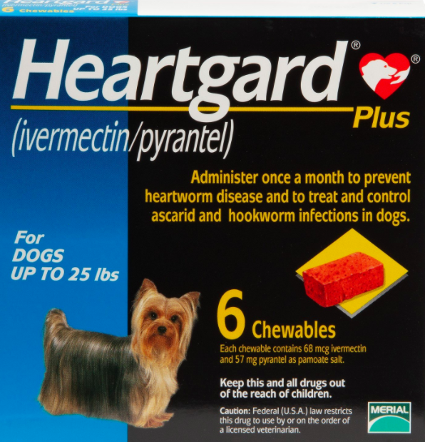 Box of Heartgard Plus Chewables for Dogs Up To 25 lbs
