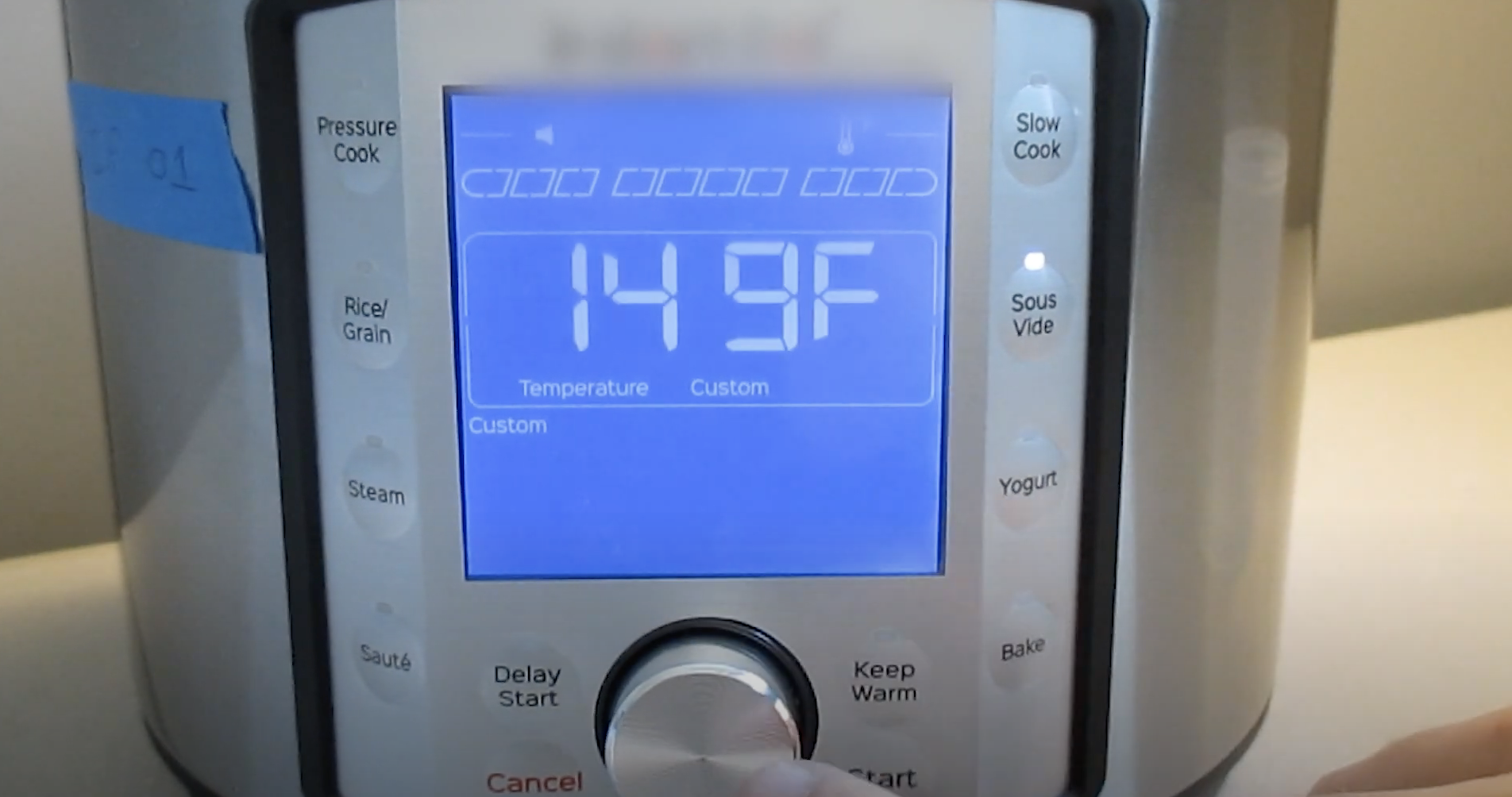 Photo of the temperature setting on an Instant Pot