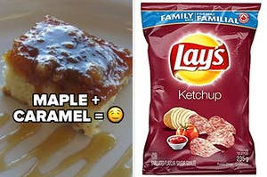 On the left, a yellow cake with a maple syrup and caramel topping sits on a white plate, with the words MAPLE + CARAMEL = drool emoji. On the right, a red bag of Lay's Ketchup chips.