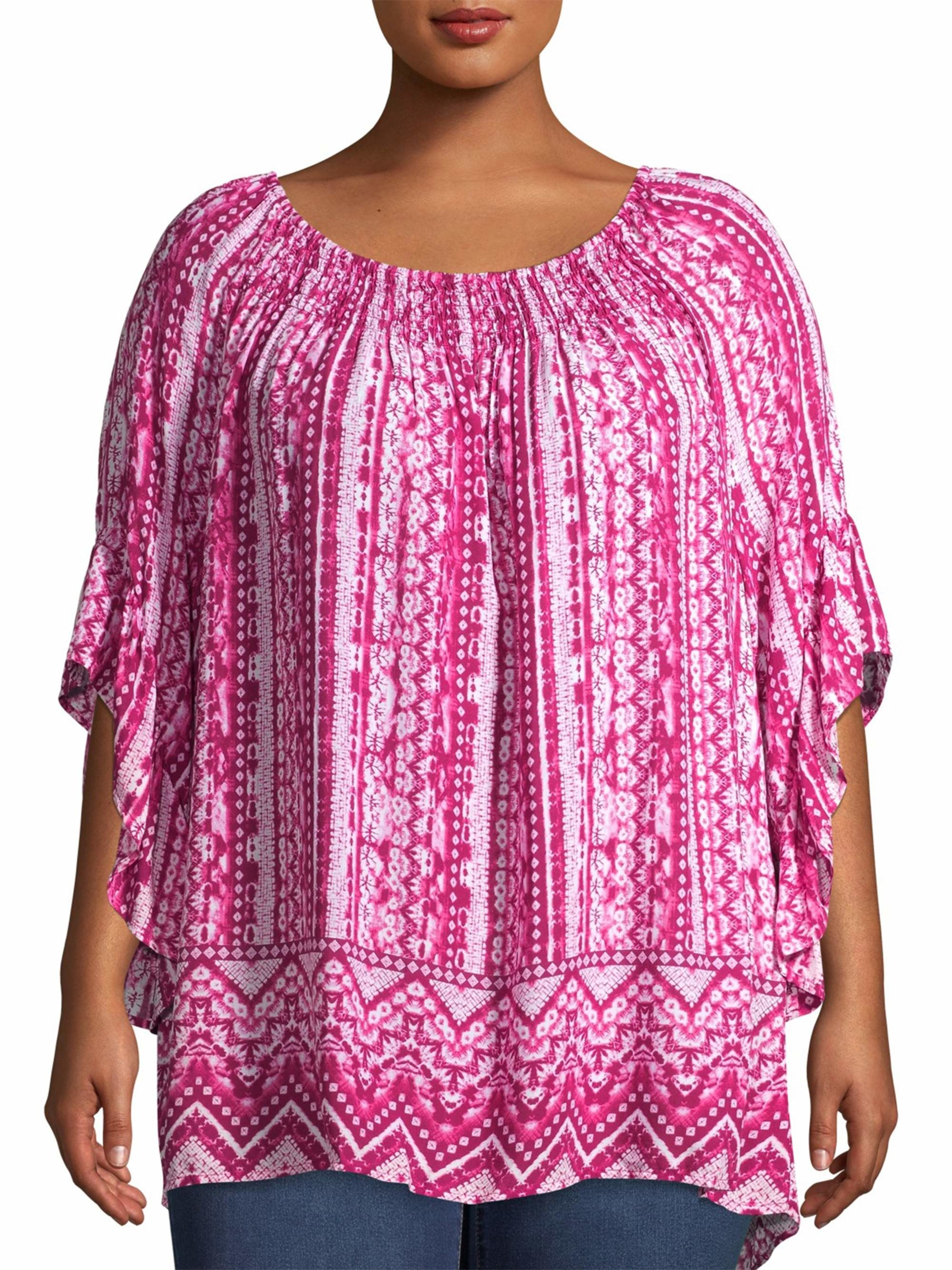 The pink patterned short sleeve top