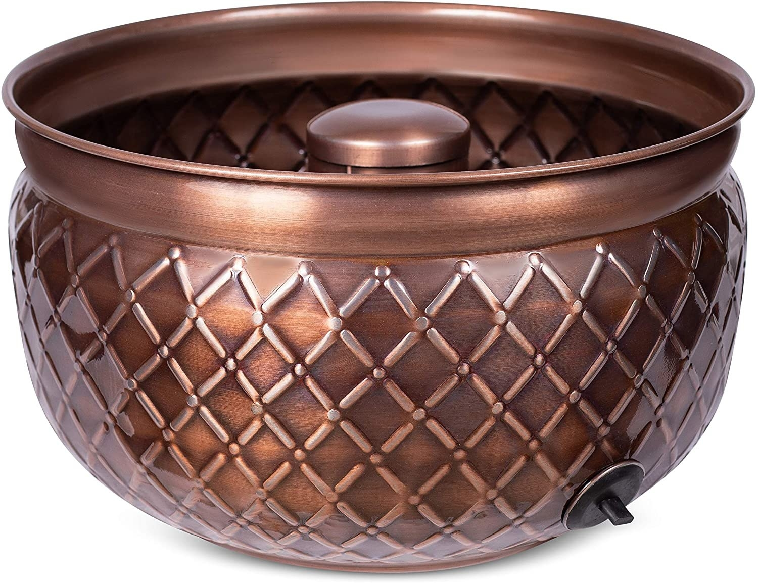 an embossed copper hose pot
