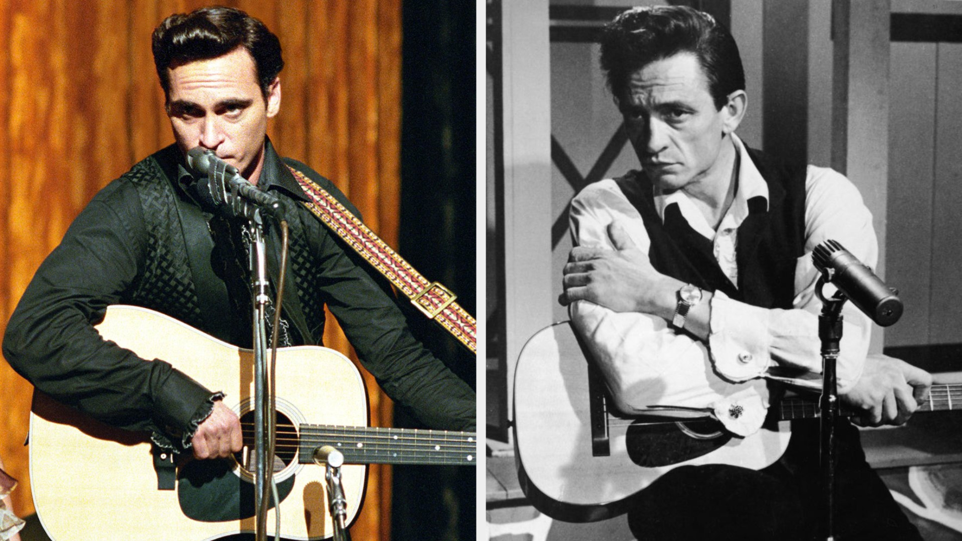 Joaquin Phoenix as Johnny Cash performing on stage with his guitar, singing in a serious manner; Johnny Cash posing on stage with his guitar in a sad and serious manner