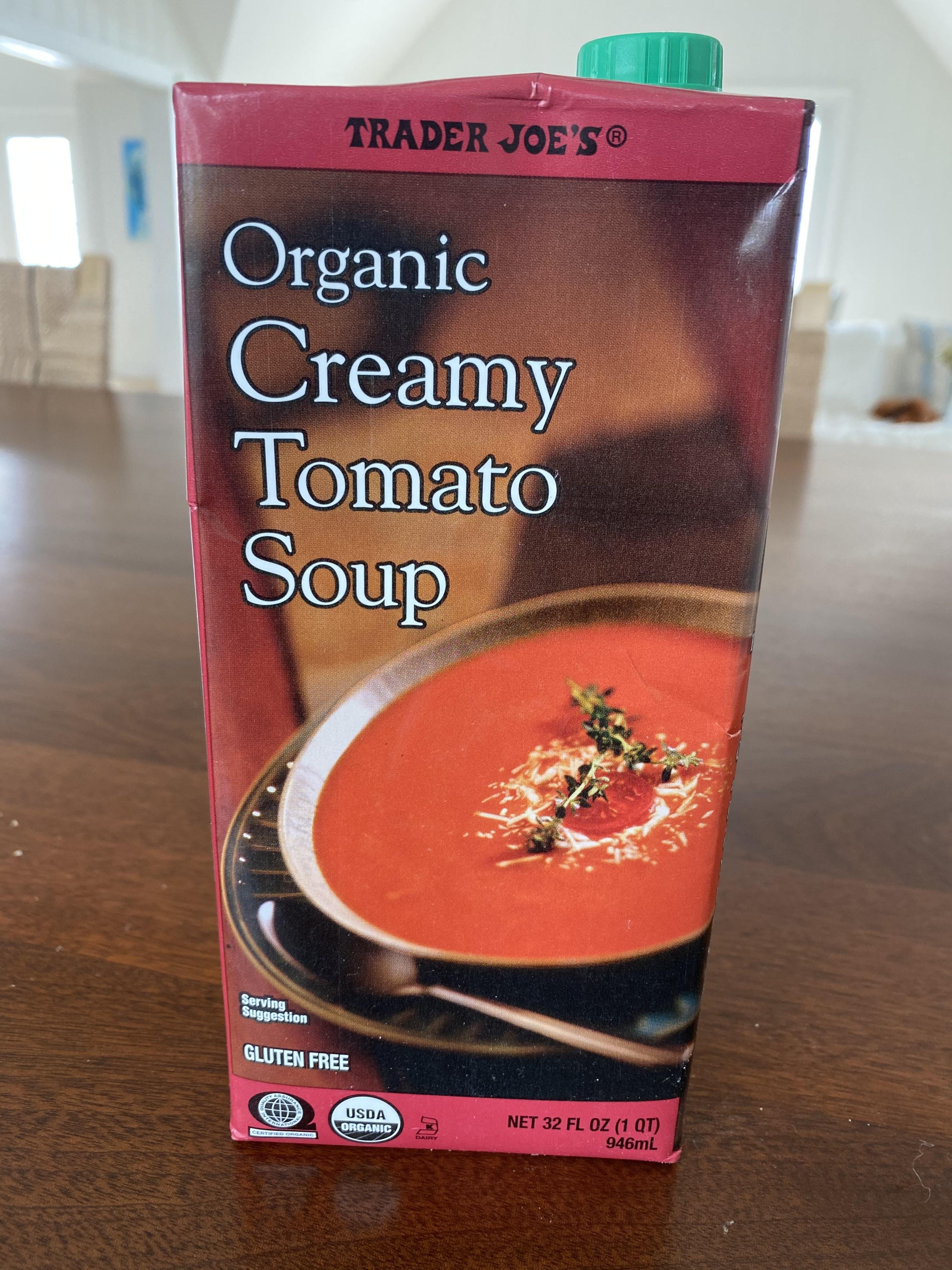 A carton of Trader Joe's creamy tomato soup.