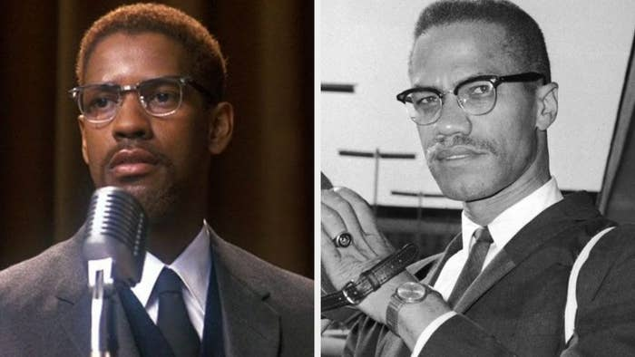 Denzel Washington as Malcolm X, wearing glasses and a suit, giving a speech with a serious expression; Malcolm X staring into the camera with a serious expression on his face, wearing glasses and a suit