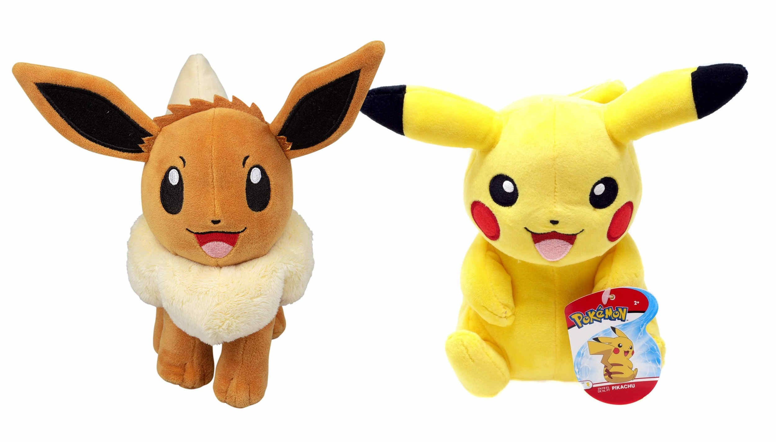 Eevie and Pikachu plushies