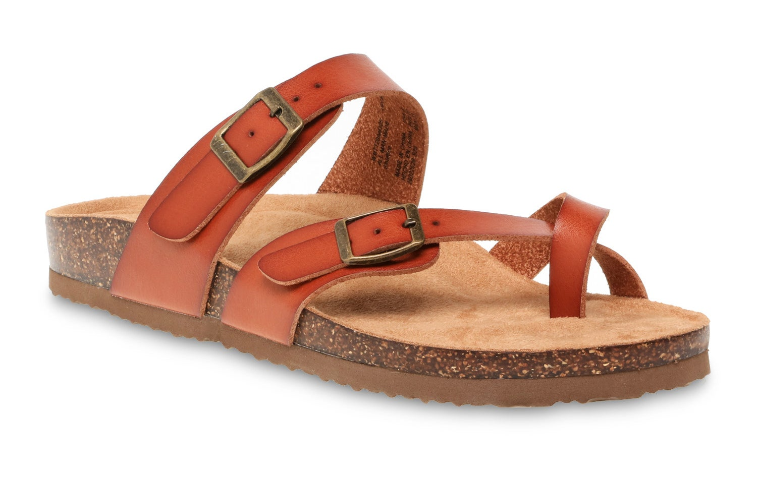 The sandal with burnt orange straps and a cork sole