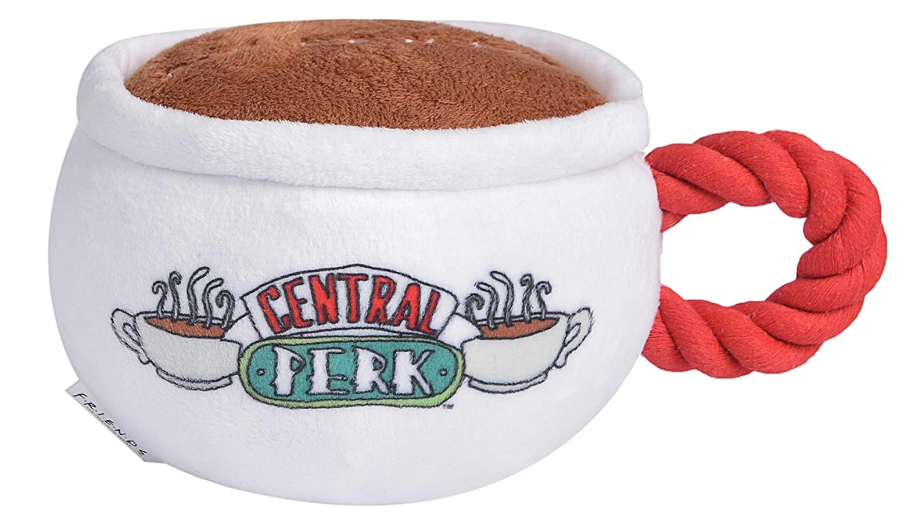 A chew toy shaped like a white coffee mug with rand handle and the Central Perk logo