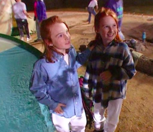 Lindsay Lohan with double Erin Mackey on set