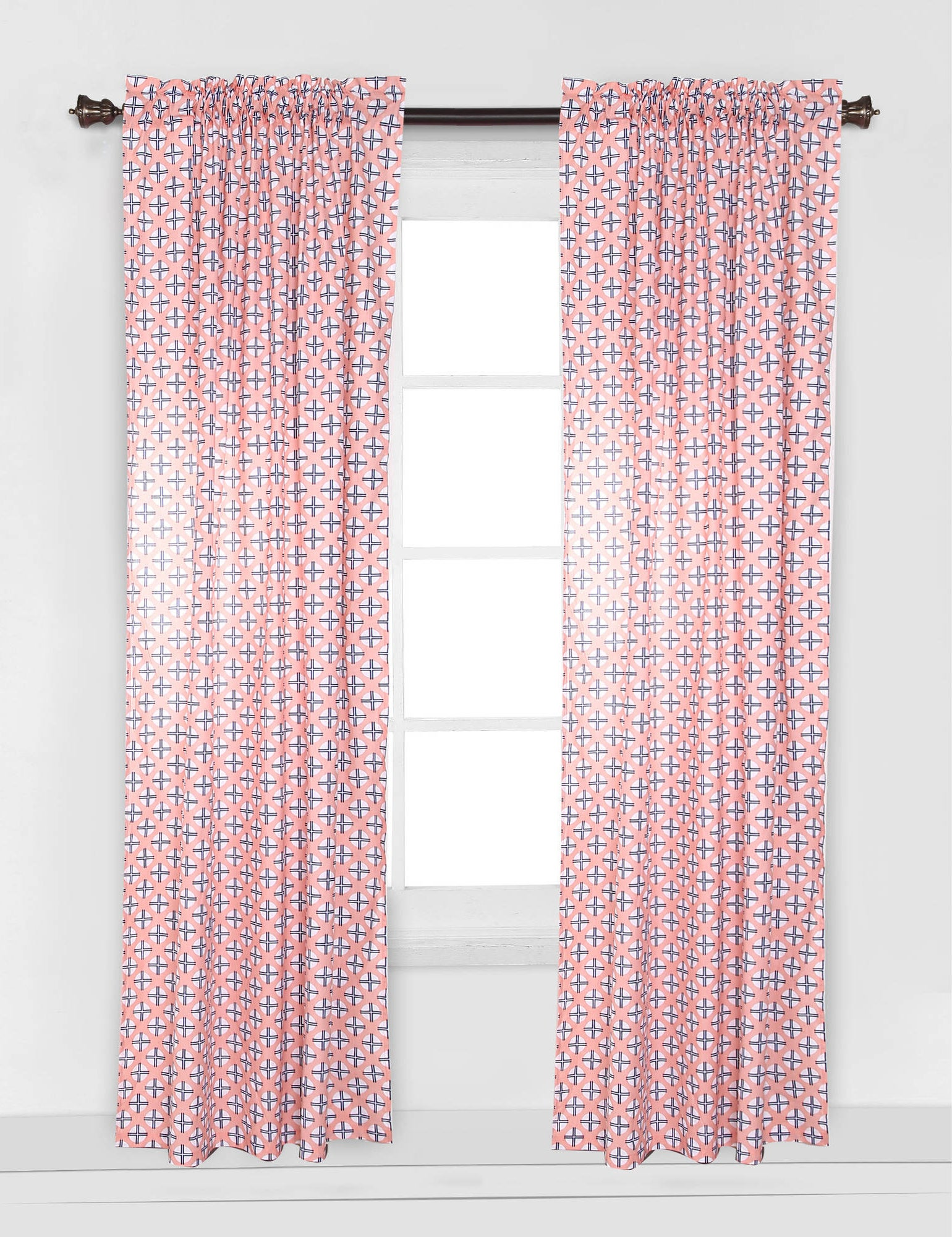 the pink curtain panel