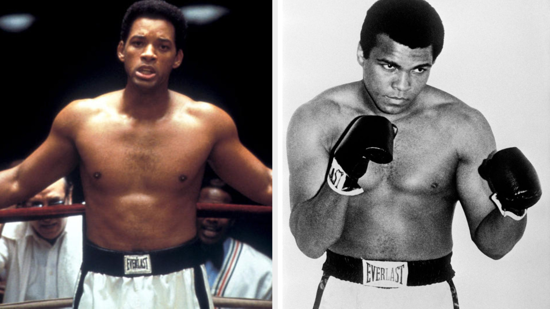 Will Smith as Muhammad Ali, standing in the corner of a boxing ring with a determined expression on his face; Muhammad Ali posing for a picture in a boxing stance, a determined expression on his face, wearing Everlast boxing gloves