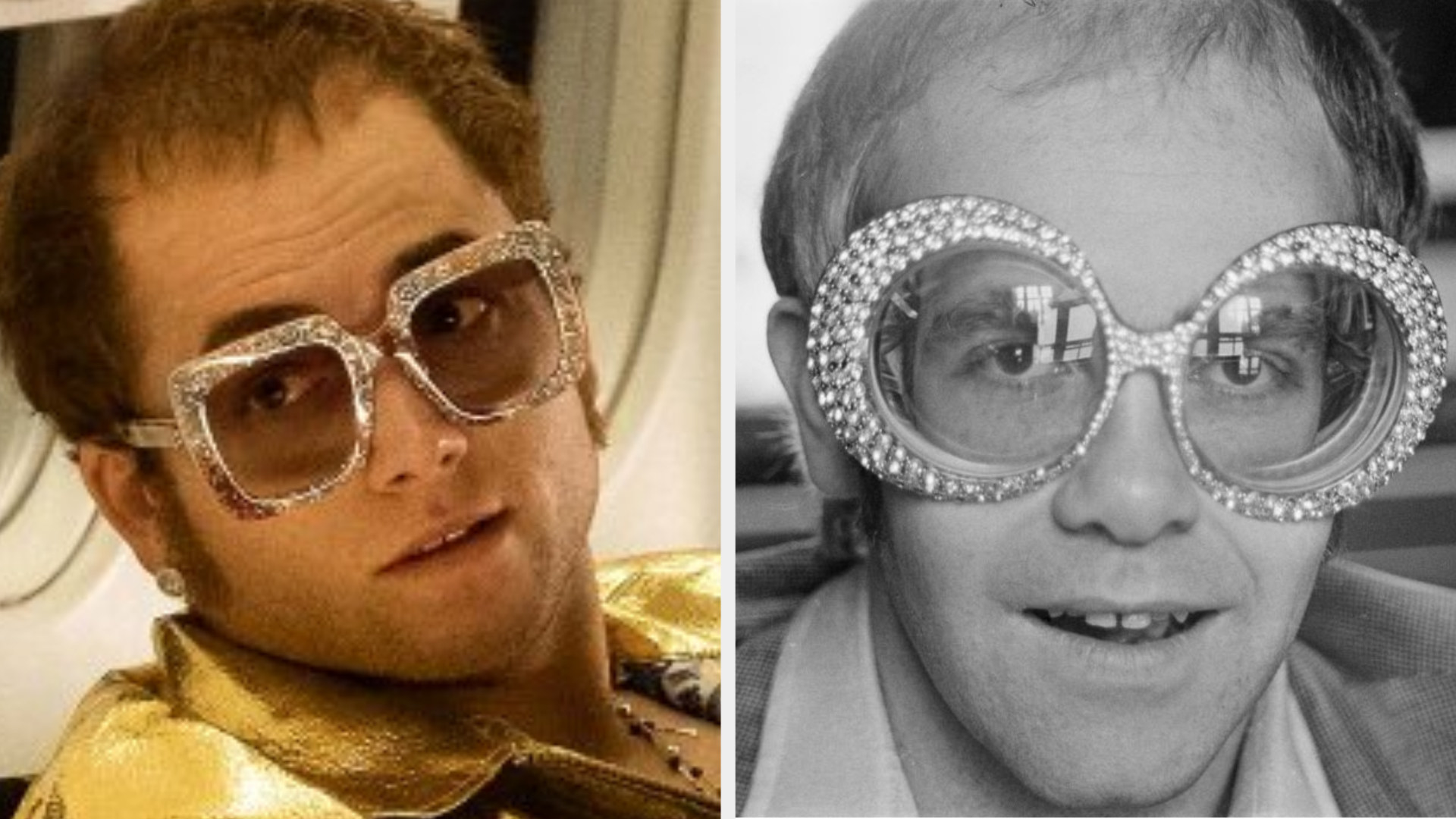 Taron Egerton as Elton John sitting on a plane, wearing oversized bejweled glasses, balding, with a serious expression on his face; Elton John posing for a picture with a sly grin, balding, wearing oversized bejeweled glasses