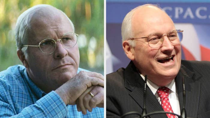 Christian Bale as Dick Chaney, staring intently during a deep conversation, wearing round gold glasses and half bald; Dick Chaney laughing at a political event, wearing round gold glasses and a suit