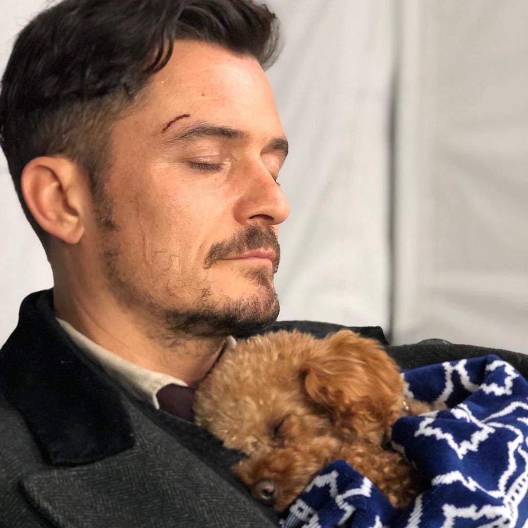 Orlando Bloom and his dog