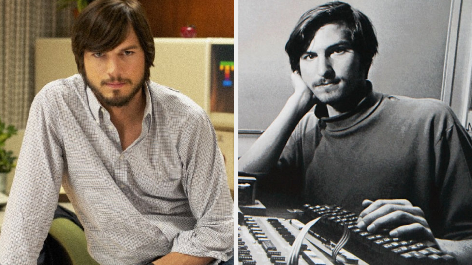 Ashton Kutcher as Steve Jobs sitting on a desk, long hair and beard, in shaggy '70s clothing; Steve Jobs resting his head on his arm, long hair and wearing a turtleneck, posing with one of the earliest models of the Apple computer
