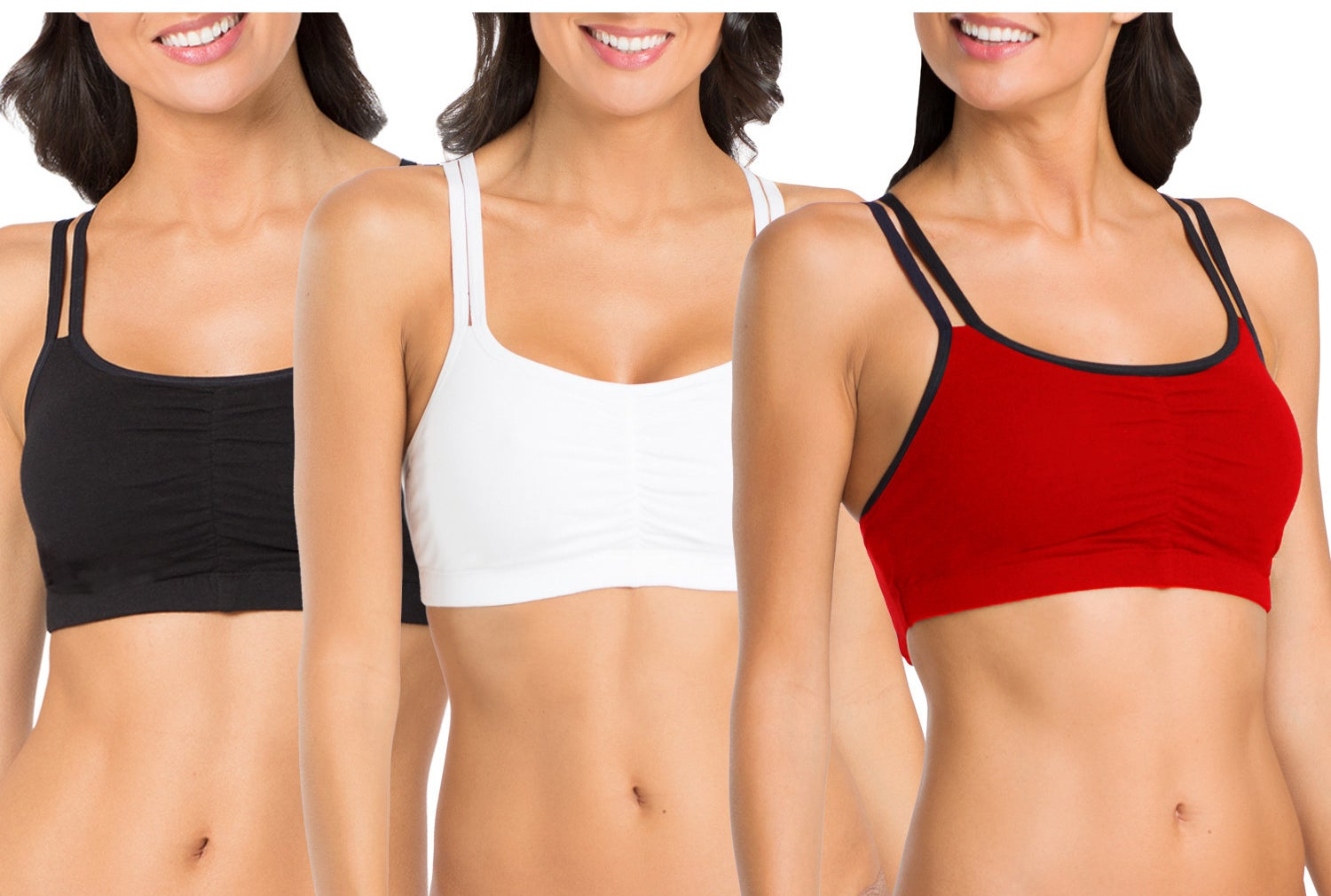 Models wearing the sports bras in black, white, and red