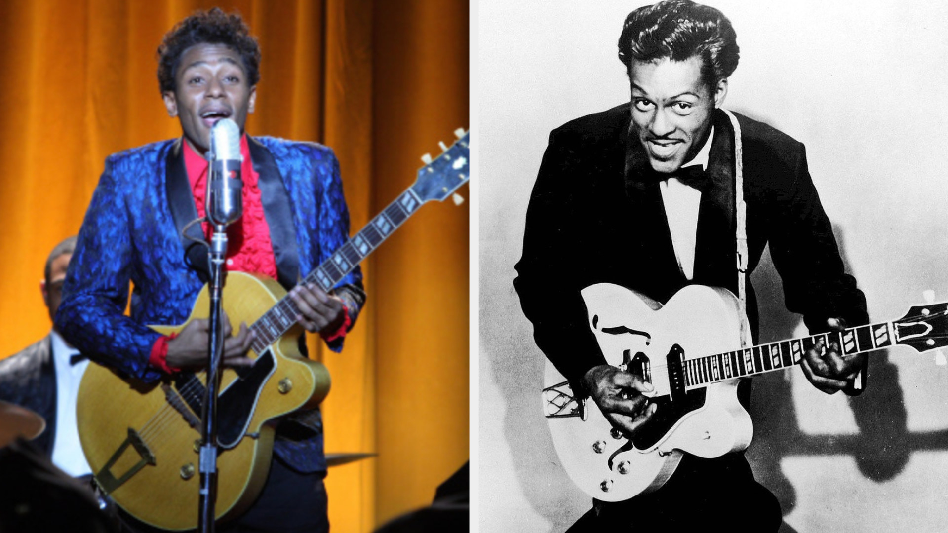 Yassin Bey as Chuck Berry, wearing a fun suit and performing in a playful manner during a concert, holding a big electric guitar, Chuck Berry posing with his electric guitar in a suit and bowtie, kneeling down with a playful smile