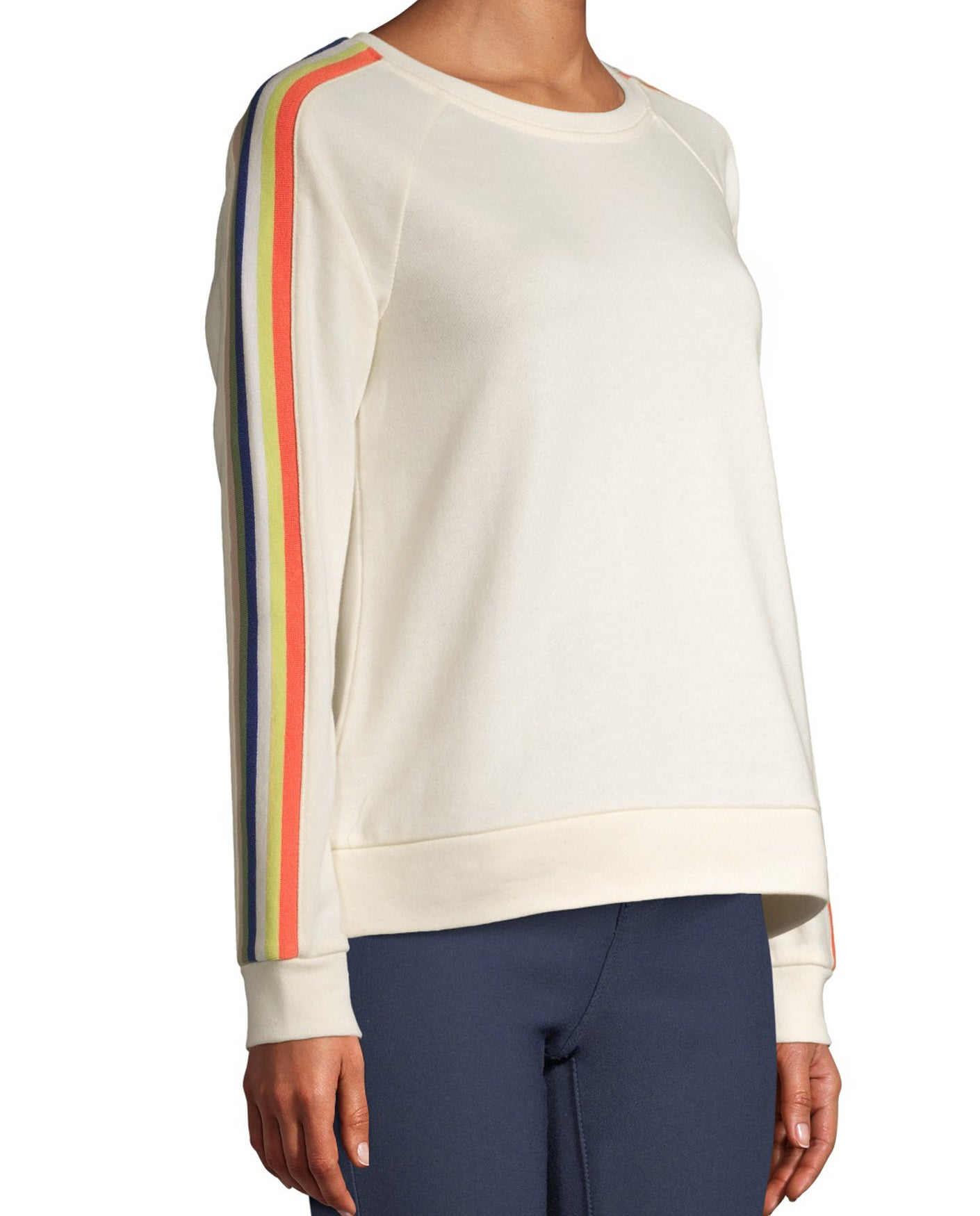 The cream sweatshirt with colorful stripes down the arm