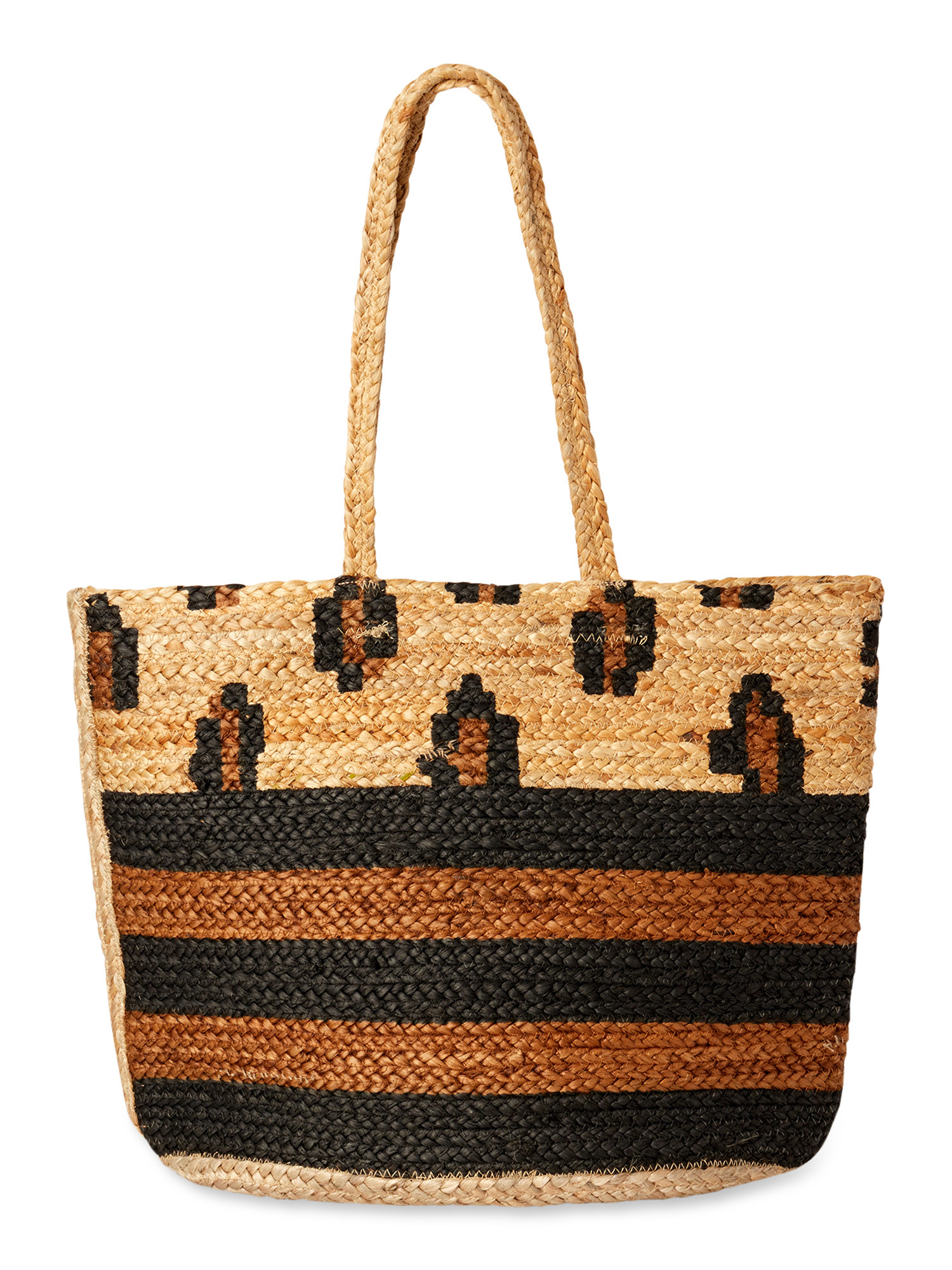the leopard and striped tote