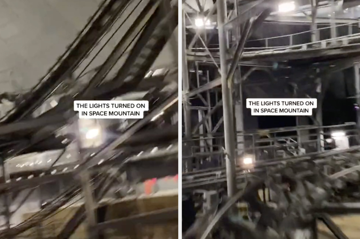 A split screen image showing the rollercoaster tracks and structures of Space Mountain with the lights turned on.