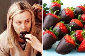 Piper eating a chocolate donut with an image of chocolate covered strawberries on the right