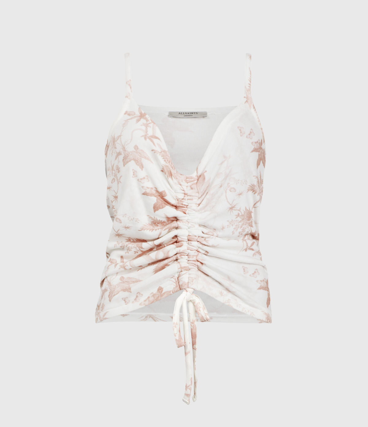 white spaghetti strap tank with coral pink floral print and an adjustable tie in front to crop it or show off more cleavage