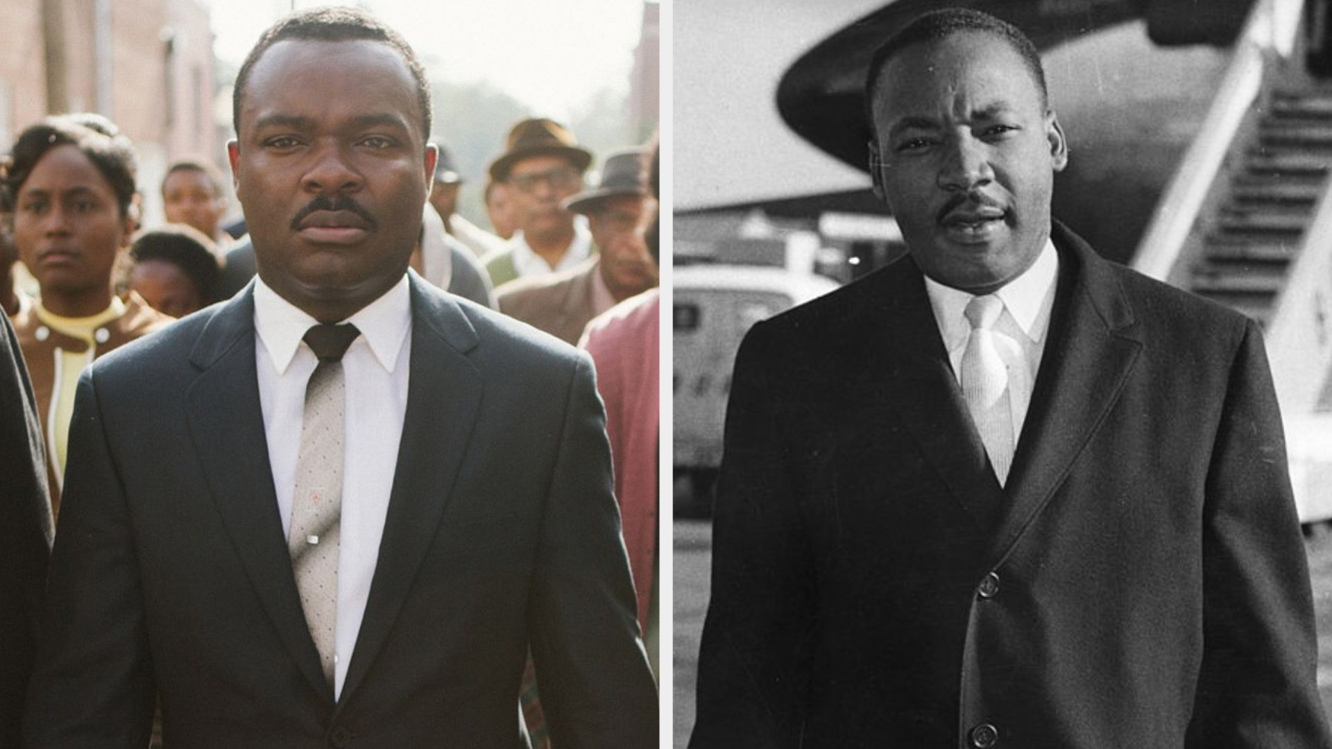 David Oyelowo as Dr. Martin Luther King Jr., wearing a suit and a serious expression on his face, marching in Selma, Alabama; Dr. Martin Luther King Jr. wearing a suit and tie with a serious/playful expression on his face, stepping out of an airplane