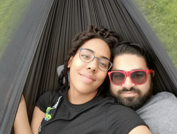 a reviewer and their boyfriend in the hammock