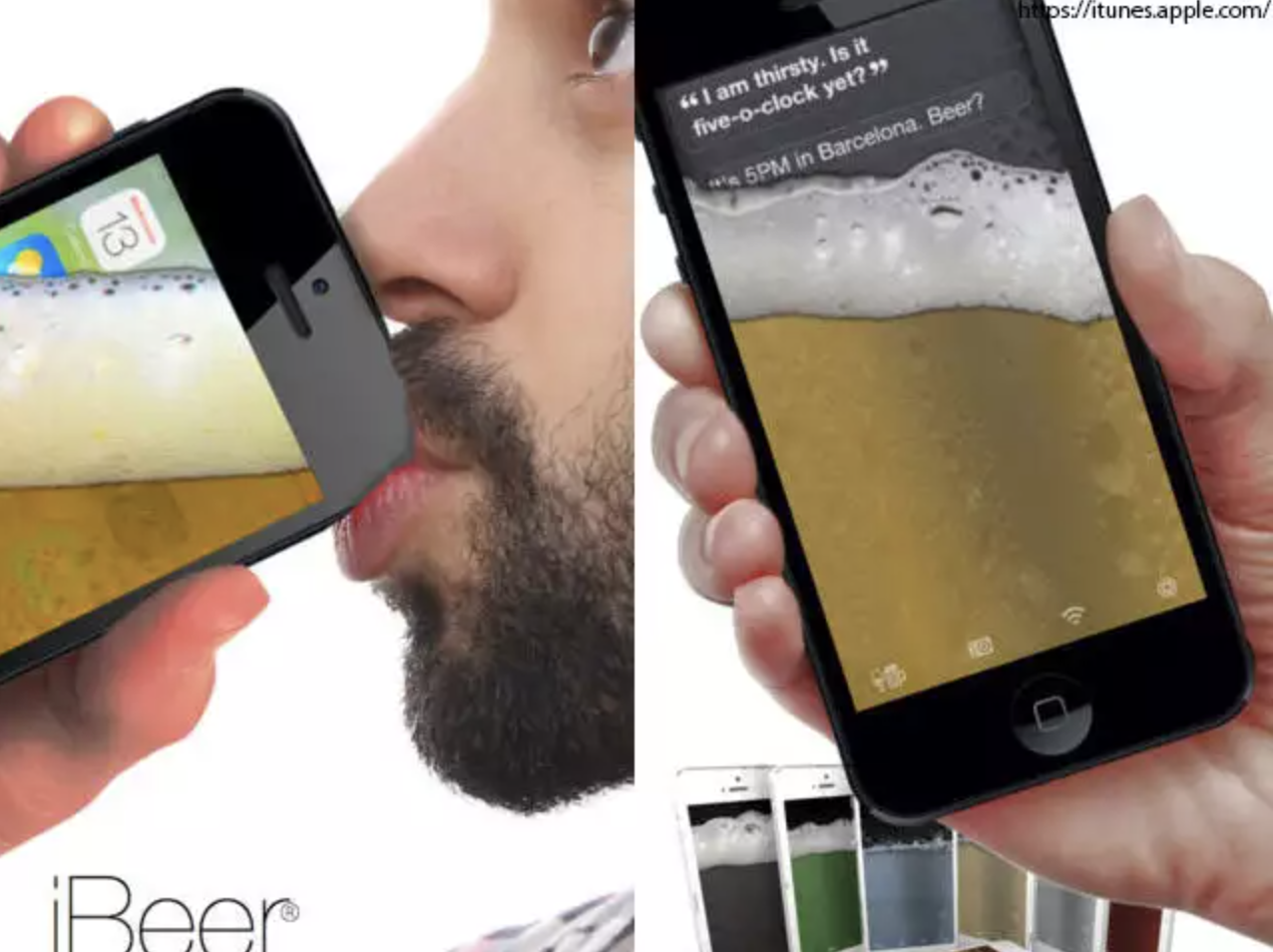 Screenshot of iBeer app featuring a man drinking what looks like a frothy beer out of his iPhone