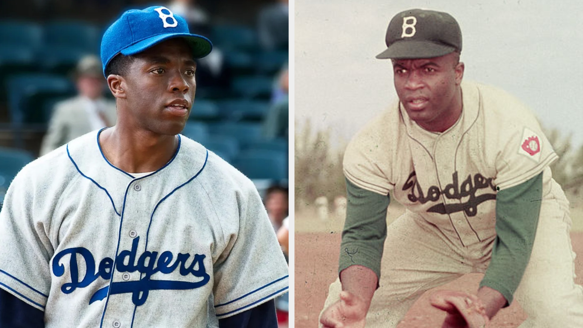 Chadwick Boseman as Jackie Robinson wearing a Brooklyn Dodgers uniform, staring at someone in a serious manner; Jackie Robinson wearing his Brooklyn Dodgers uniform, kneeling down on the field to catch a ground ball